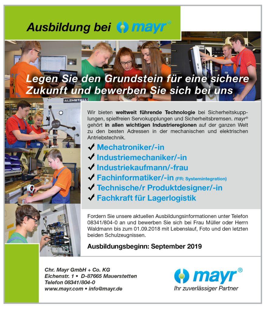 Aktuelle Stellenanzeige Mayr Azubiwebsite